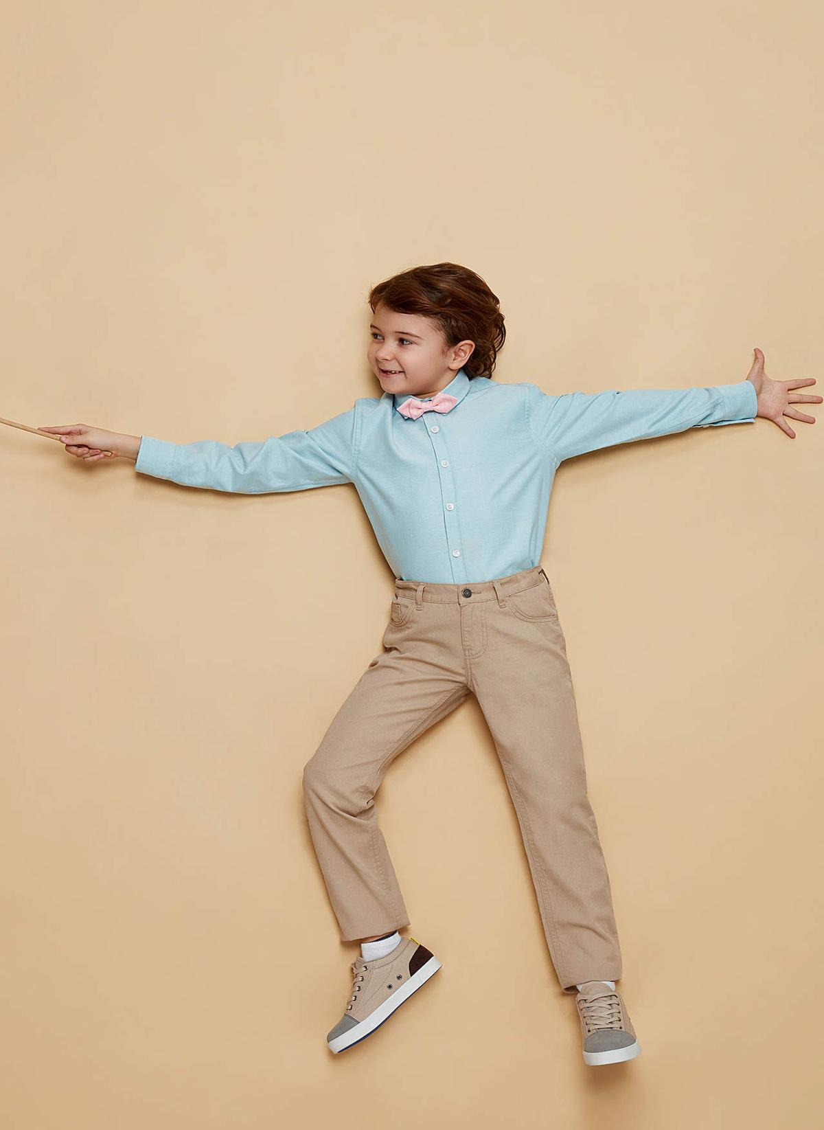 Erkek Çocuk DeFacto Papyon Detaylı Uzun Kollu Gömlek